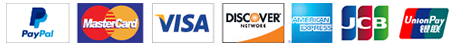 Payment via PayPal, Master Card, Visa, Discovery, American Express, JCB