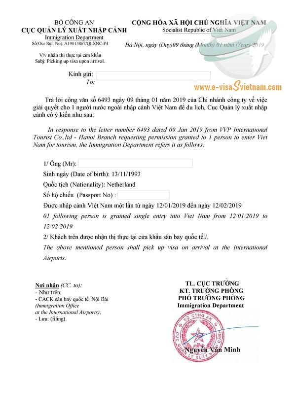 Sample of visa approval letter for Netherlands passport