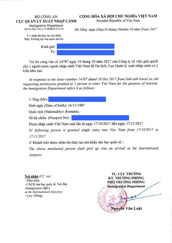 Sample of visa approval letter for Romania passport
