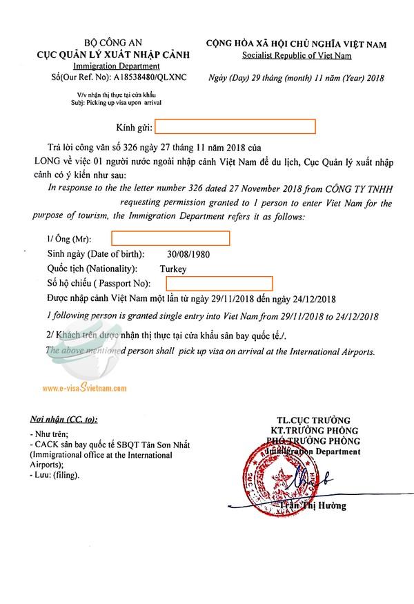 Sample of visa approval letter for Turkey passport